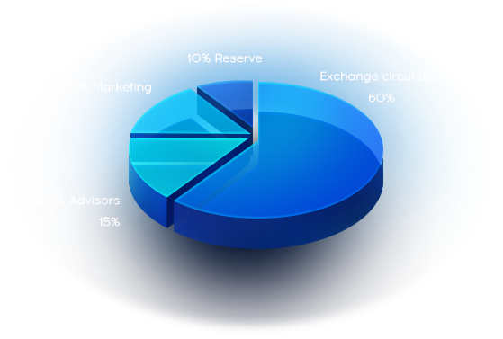 15% Team-Advisors, 15% Marketing, 10% Rezerve, 60% Exchange circulation